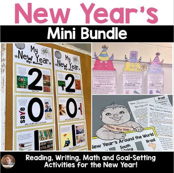 New Year's Bundle: Social Studies, Writing, Reading, and Math for Grades 3-5