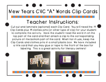 "New Year's CVC ""A"" Words Clip Cards"