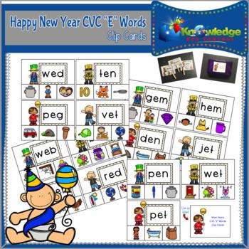 """New Year's CVC """"E"""" Words Clip Cards"""