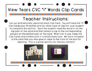 "New Year's CVC ""I"" Words Clip Cards"