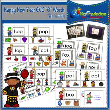 """New Year's CVC """"O"""" Words Clip Cards"""