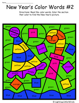 New Year's Celebration Coloring with Color Words