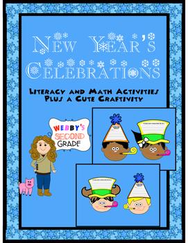New Year's Celebration Literacy and Math Activities with Bonus Craft