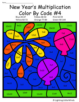 New Year's Celebration Multiplication Color by Code