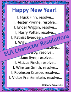 New Year's Character Resolutions: ELA 7th-12th