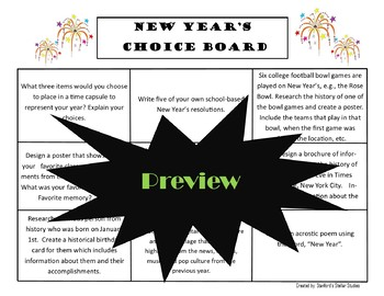 New Year's Choice Board Holiday Activities Menu Project Rubric Tic Tac Toe