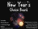 New Year's Choice Board Holiday Activities Menu Project Ru