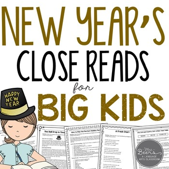New Year's Close Reads for BIG KIDS Common Core Aligned