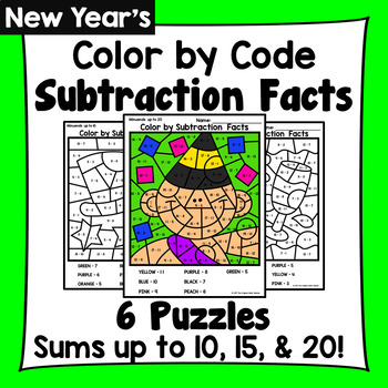 New Year's Color By Subtraction Facts: Minuends up to 10, 15, & 20