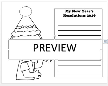 New Year's Color and Write Resolutions