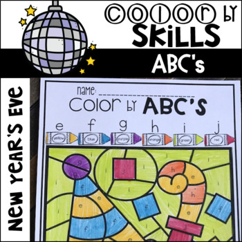 New Year's Color by Code ABC's (Uppercase and Lowercase)