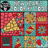 New Year's Color by Code Clipart