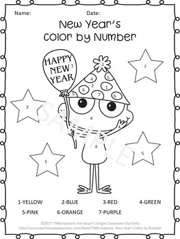 New Year's Color by Number