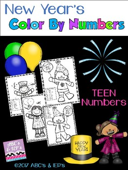 New Year's Color-by-Numbers - TEEN NUMBERS