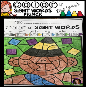 New Year's Color by Sight Words Primer Sight Word Activities