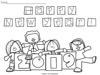 New Year's Day Coloring Page FREEBIE!