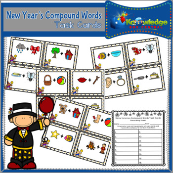 New Year's Compound Words Task Cards With Recording Sheet