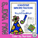 New Year's Converting Improper Fractions to Mixed Numbers Color by Number