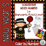 New Year's Converting Mixed Numbers to Improper Fractions Color by Number