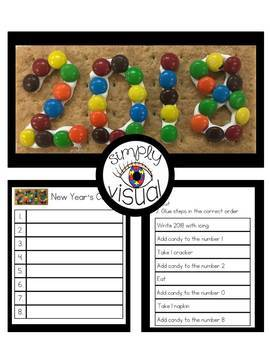 Simple Snack Activity with Visual Directions New Year's Cookie