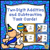New Year's Day - 2 Digit Addition and Subtraction Task Cards - Grades 2-3