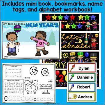 New Year's Day Bundle: Mini Book, Name Tags, Bookmarks, Alphabet Workbook