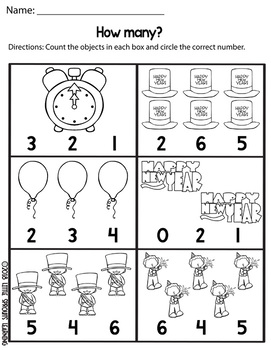 New Year's Day Count and Clip cards (Numbers 1-20) plus worksheets