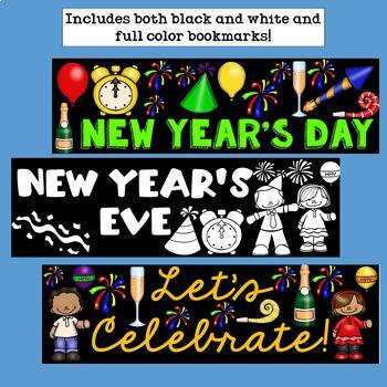 New Year's Day Cut n' Color Bookmarks: Black and White AND Full Color