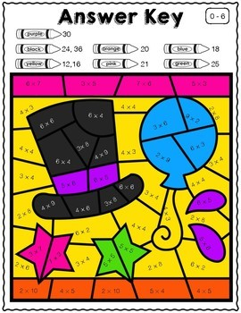 New Year's Day Math | Color by Product Multiplication Facts 1-12