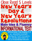 "New Year's Day & Resolution CLOSE READ 5 LEVELS ""NO FLUFF Main Idea Fluency TDQs"