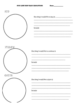 New Year's Day Resolutions Worksheet