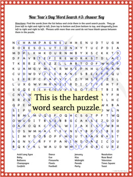 New Year's Day Word Search & Crossword Puzzles: Print & Paperless Versions