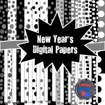 New Year's Digital Papers with Frames