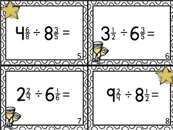 New Year's Dividing Mixed Fractions Task Cards Activity Center