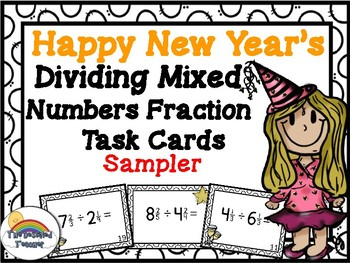 New Year's Dividing Mixed Fractions Task Cards Activity Center FREEBIE SAMPLER