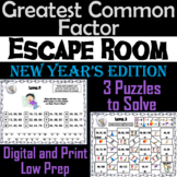 New Year's Escape Room Math: Greatest Common Factor Game 4th 5th 6th 7th Grade