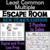 New Year's Escape Room Math: Least Common Multiple Game 4th 5th 6th 7th Grade