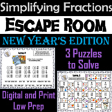 New Year's Escape Room Math: Simplifying Fractions Game; 4th 5th 6th 7th Grade