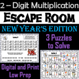 New Year's Escape Room Math: Two Digit Multiplication Game (3rd 4th 5th Grade)