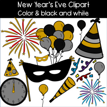 new years eve clip art balloons masks clock party hats and more