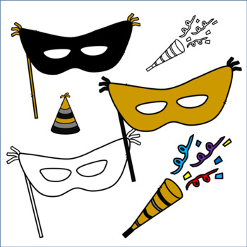 New Year's Eve Clip Art: Balloons, Masks, Clock, Party Hats and More!