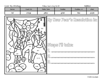 New Year's Eve Coloring Page by: Subitizing, Addition, Multiplication