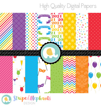 New Year's Eve Digital Papers - Bright