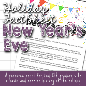 Holiday Fact Sheet - New Year's Eve/ New Year's Day