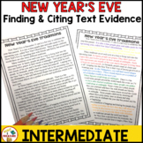 New Year's Eve Reading Passage- Finding and Citing Text Evidence