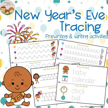 New Year's Eve Tracing - Prewriting & Writing Center Activities