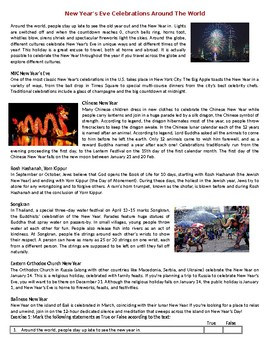 New Year's Eve celebrations around the world - Reading Comprehension Worksheet