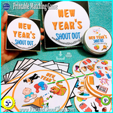 "New Year's Matching Game Shout Out; 3"" & 5"" circle/square card + Box; Spot Match"