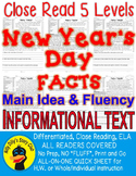 New Year's FACTS Close Read 5 levels ALL-READERS-COVERED Main Idea Fluency