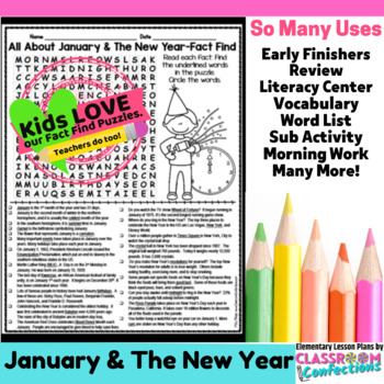 New Year's Activity: New Year's Informational: Word Search